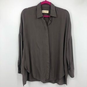 MM Lafleur Gray Button Up Oversized Blouse Small